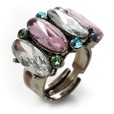 Multicoloured Oval-Cut Crystal Cocktail Ring - main view
