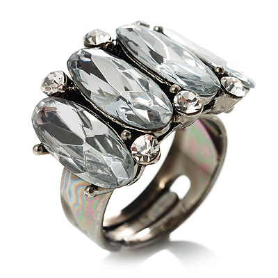 Clear Oval-Cut Crystal Cocktail Ring