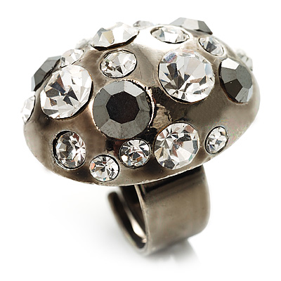Diamante Dome Shaped Cocktail Ring (Clear&Jet-Black) - main view