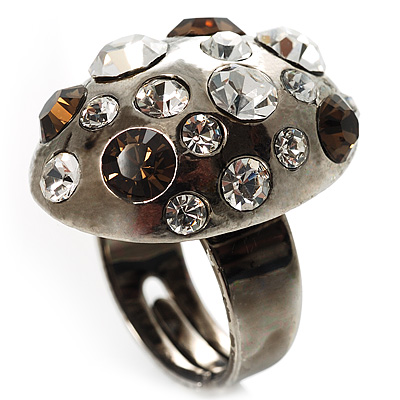 Diamante Dome Shaped Cocktail Ring (Clear&Amber Coloured)
