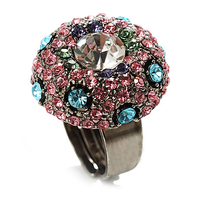 Multicoloured Crystal Dome Shaped Cocktail Ring - main view