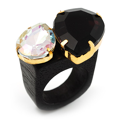 Acrylic Wooden Boho Style Fashion Ring (Black&Clear)