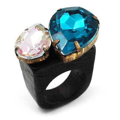 Acrylic Wooden Boho Style Fashion Ring (Azure&amp;Clear)