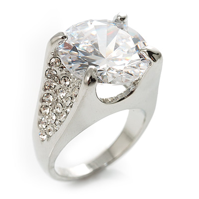 Clear Crystal CZ Rock Solitaire Ring (Silver Tone) [R00508]