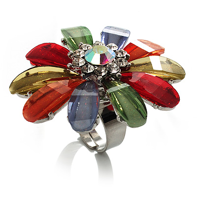 Large Multicoloured Acrylic Daisy Cocktail Ring (Silver Tone)