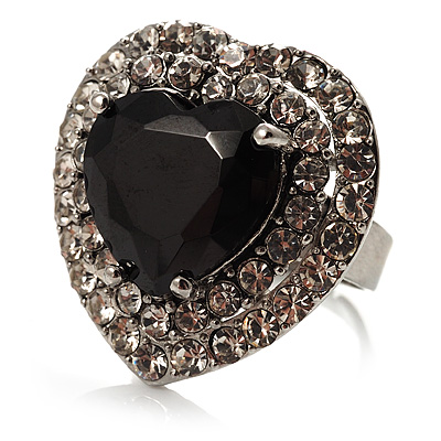Jet-Black CZ Heart Cocktail Ring (Silver Tone) - main view