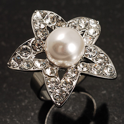 Crystal Star Pear Style Fashion Ring (Silver Tone)