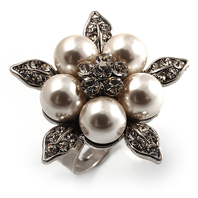Bridal Snow White Faux Pearl Crystal Flower Ring (Silver Tone)