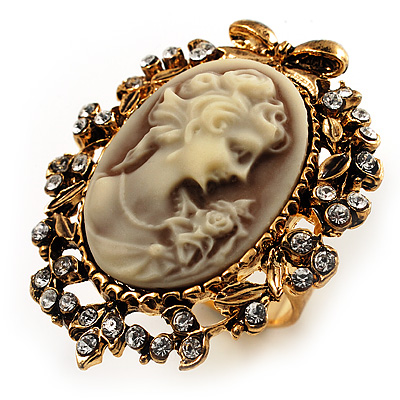 Vintage Filigree Cameo CZ Ring (Burnised Gold Tone) - main view