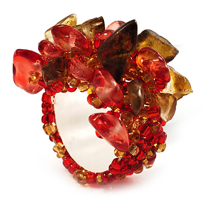 Brown & Red Semiprecious Chip Cluster Flex Ring - main view