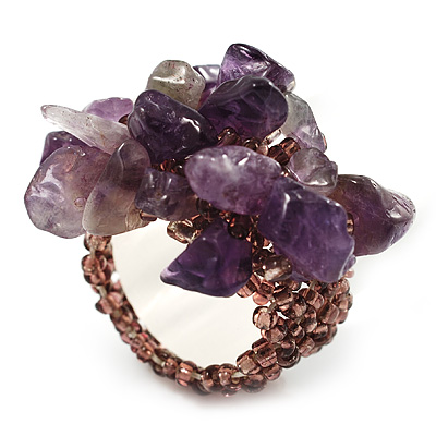 Lavender Semiprecious Chip Cluster Flex Ring - main view
