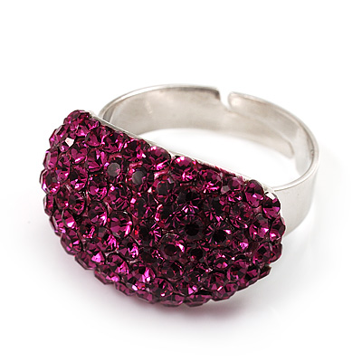 Swarovski Crystal Dome Shape Silver Tone Ring (Magenta)