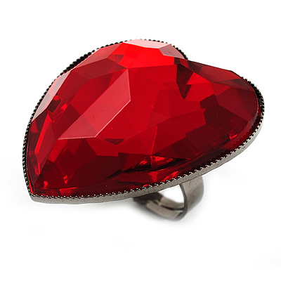 Large Red Acrylic Heart Cocktail Ring (Silver Tone) - main view