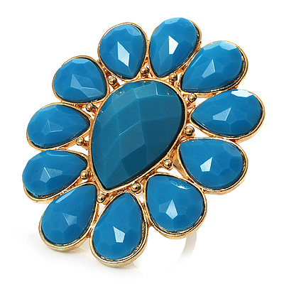 Oversized Turquoise Style Floral Acrylic Cocktail Ring (Gold Tone)