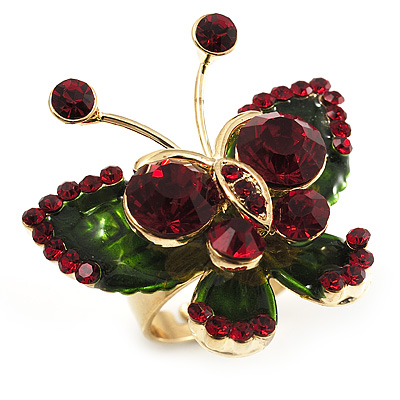 3D Gold Tone Crystal Butterfly Ring (Ruby Red & Dark Green)