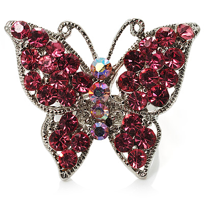 Silver Tone Pink Crystal Butterfly Ring - main view