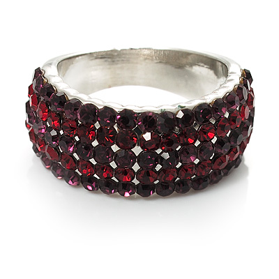 Silver Plated Crystal Band Ring (Purple & Burgundy)