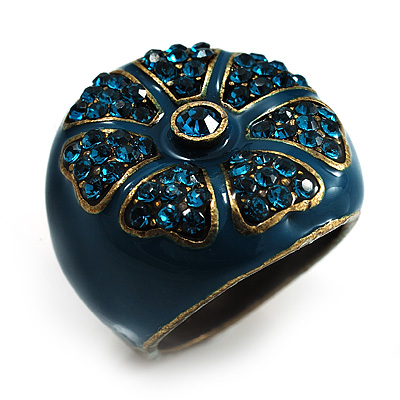 Crystal Floral Teal Coloured Enamel Shield Ring (Bronze Tone)