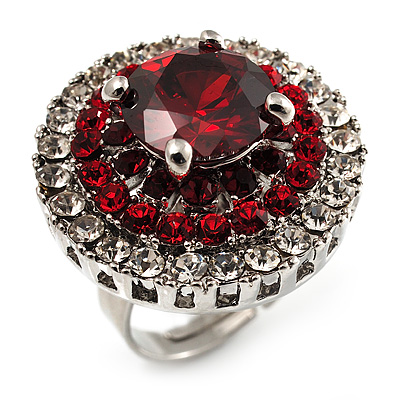 Ruby Red CZ Statement Cocktail Ring (Silver Tone)