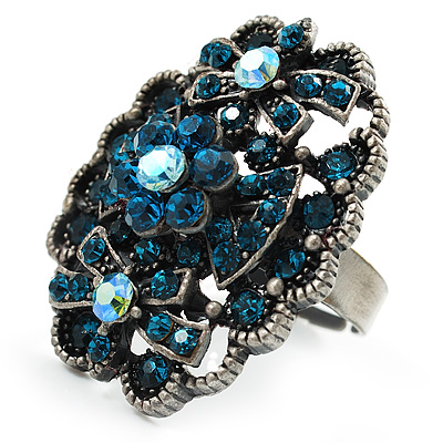 Vintage Diamante Cocktail Ring (Antique Silver Dark Turquoise)