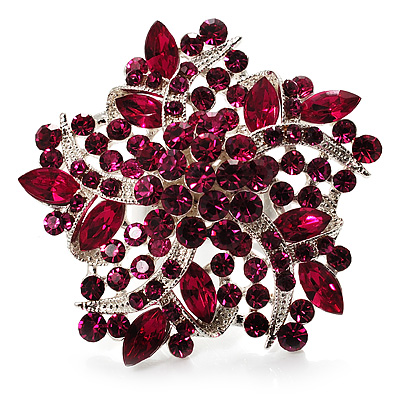 Large Magenta Crystal Flower Cocktail Ring (Silver Tone)