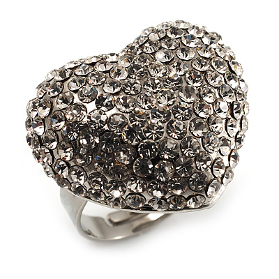 Clear Diamante Puffed Heart Ring (Silver Tone) - main view