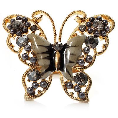 Large Ash Grey Enamel Butterfly Ring (Gold Tone)