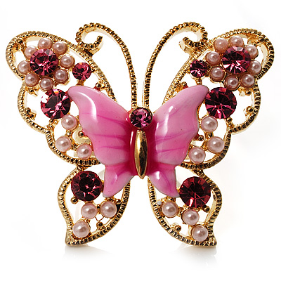 Large Bright Pink Enamel Butterfly Ring (Gold Tone)