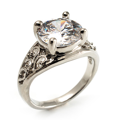 Silver Plated Clear CZ Solitaire Ring