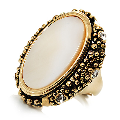 Antique Gold Shell Crystal Chunky Ring