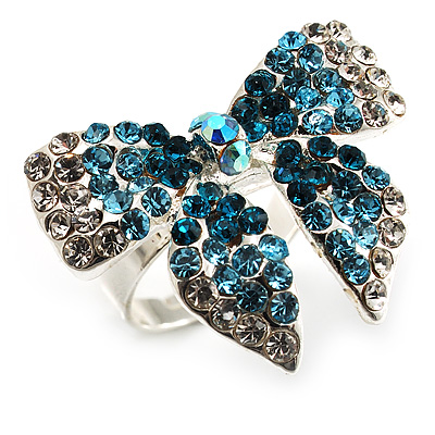 Silver-Tone Crystal Bow Ring (Teal, Sky Blue & Clear)