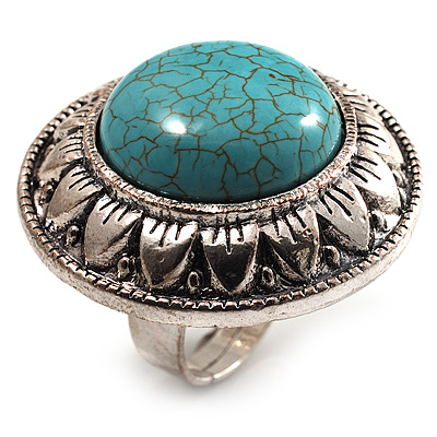 Round Turquoise Style Cocktail Ring (Burn Silver)
