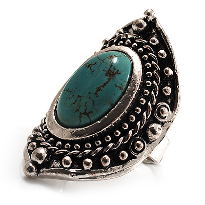 Burn Silver Hammered Turquoise Style Fashion Ring - main view