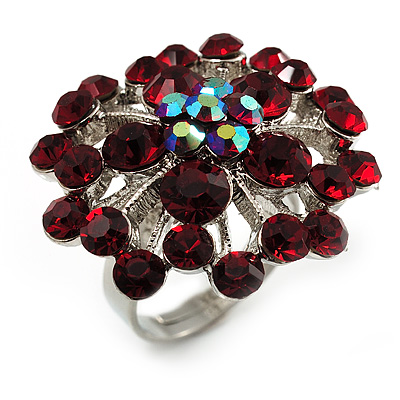 Burgundy Red Floral Cocktail Ring (Silver Tone)