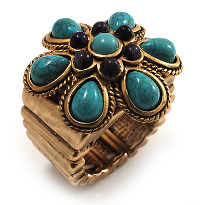 Turquoise Stone Flower Stretch Ring (Antique Gold Tone)