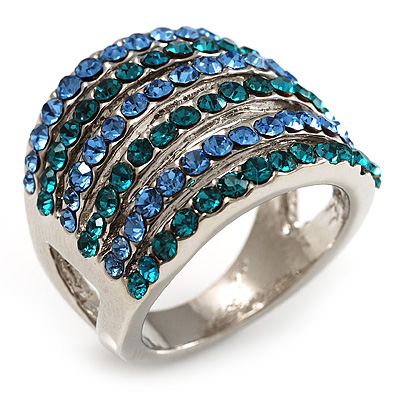Silver Tone Wide Crystal Band Ring (Light Blue & Teal) - Size 7