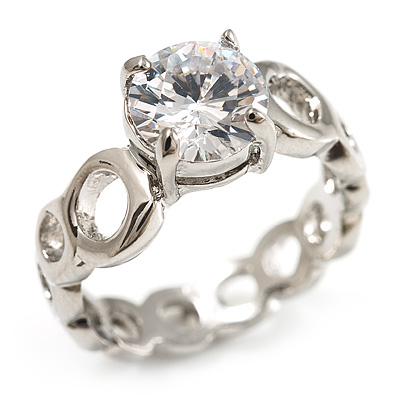Clear Crystal CZ Solitaire Ring (Silver Tone) - Size 7
