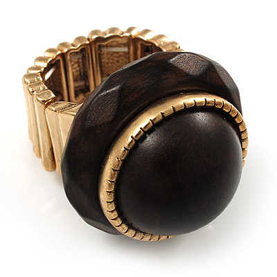 Dome Brown Wood Stretch Ring (Gold Tone) - main view