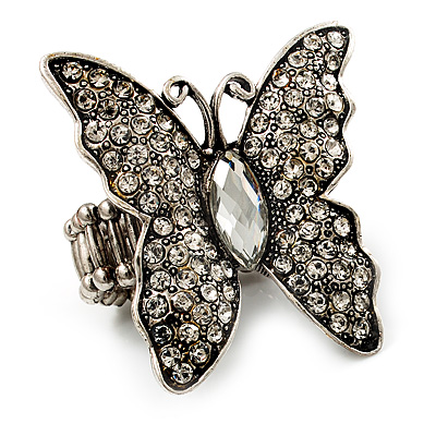 Large Diamante Butterfly Antique Burnt Silver Stretch Ring
