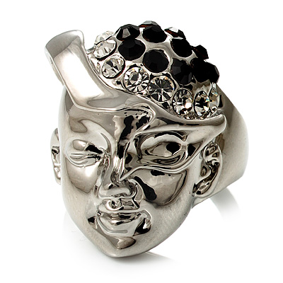 'Lady In The Diamante Hat' Rhodium Plated Ring
