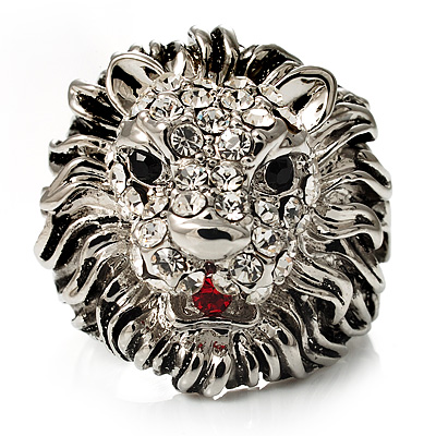 Statement Rhodium Plated Crystal 'Lion' Ring