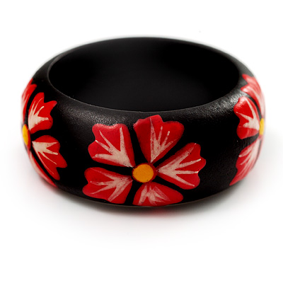 Black Wood Bright Red Floral Band Ring