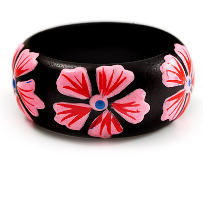 Black Wood Bright Pink Floral Band Ring