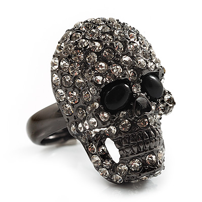 Gun Metal Swarovski Crystal Skull Ring - Size 7 - main view