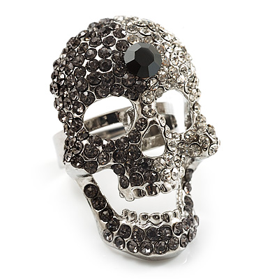 Dazzling Crystal Skull Cocktail Ring - Adjustable - main view