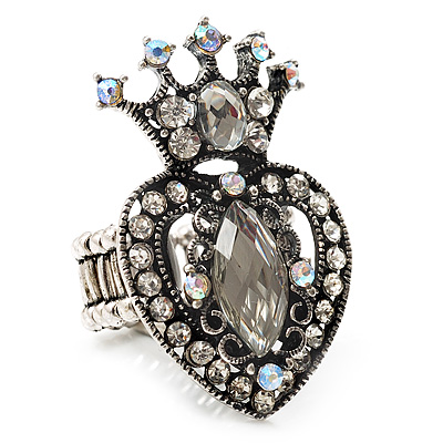 Burn Silver Crystal Crown & Heart Stretch Ring - main view