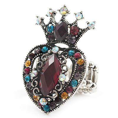 Burn Silver Multicloured Diamante Crown & Heart Stretch Ring