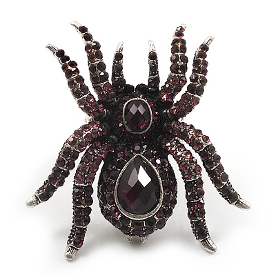 Oversized Purple Crystal Spider Stretch Cocktail Ring In Silver Plating
