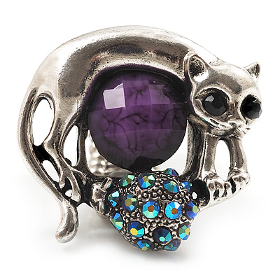 Burn Silver Purple Diamante Cat & Mouse Stretch Ring - main view