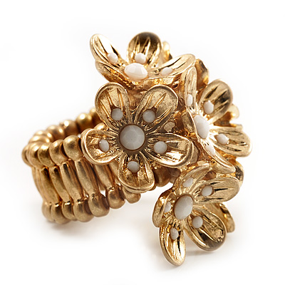 Vintage Cluster Flower Stretch Cocktail Ring (Burn Gold) - Size 6/7